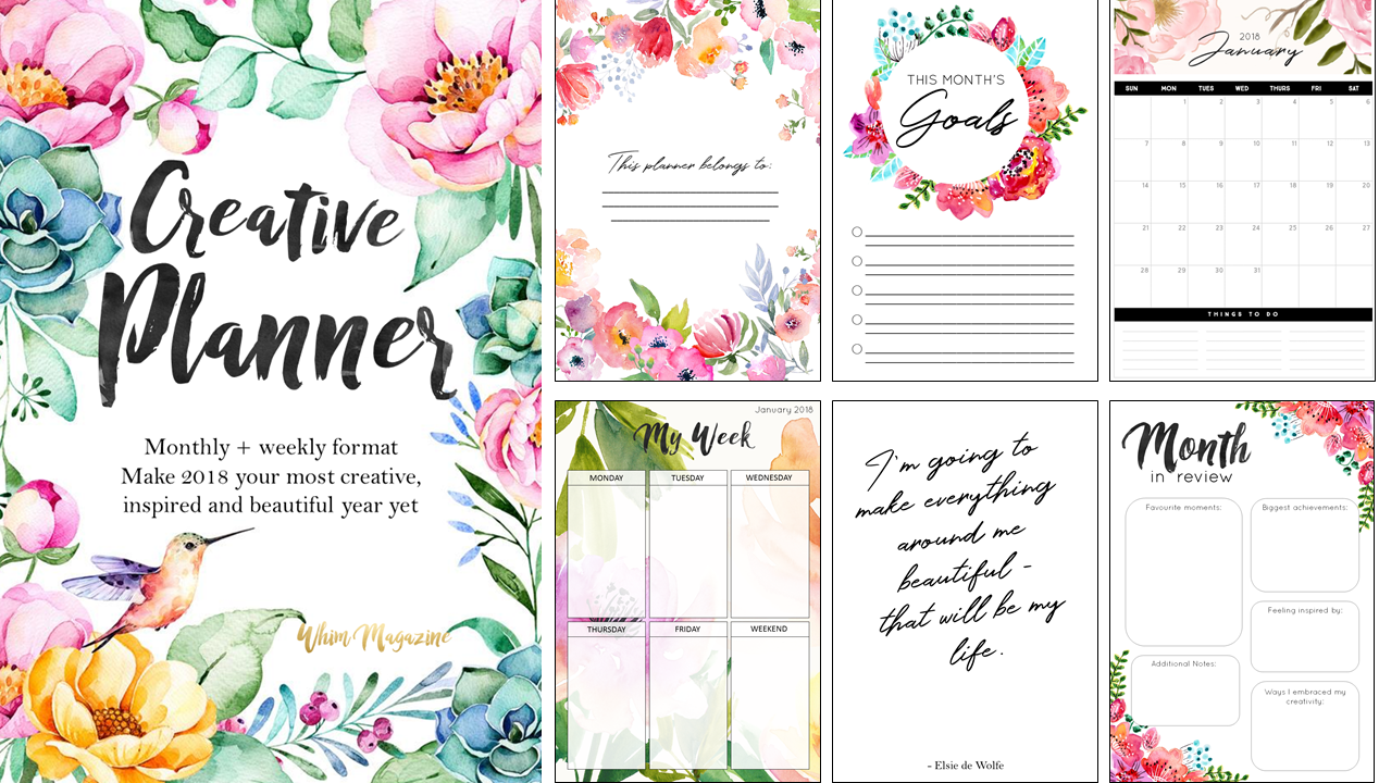 Free Printable 2018 Planner from Whim Magazine