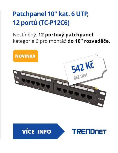 Patchpanel 10 kat. 6 UTP, 12 portů (TC-P12C6)