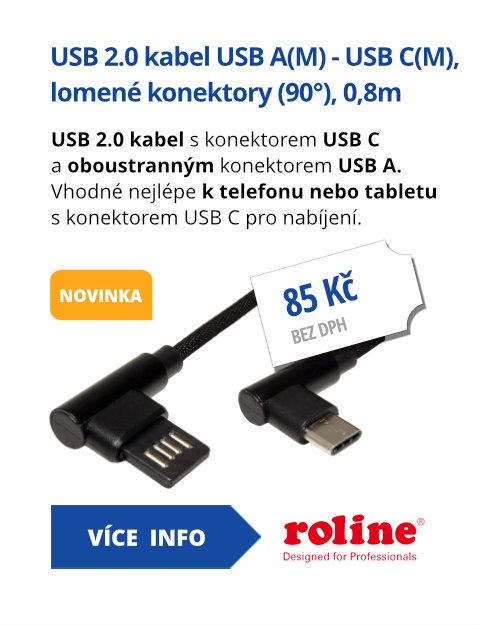 USB 2.0 kabel, oboustranný USB A(M) - USB C(M), lomené konektory (90°), 0,8m