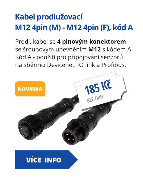 Kabel prodlužovací M12 4pin (M) - M12 4pin (F), kód A, 1m