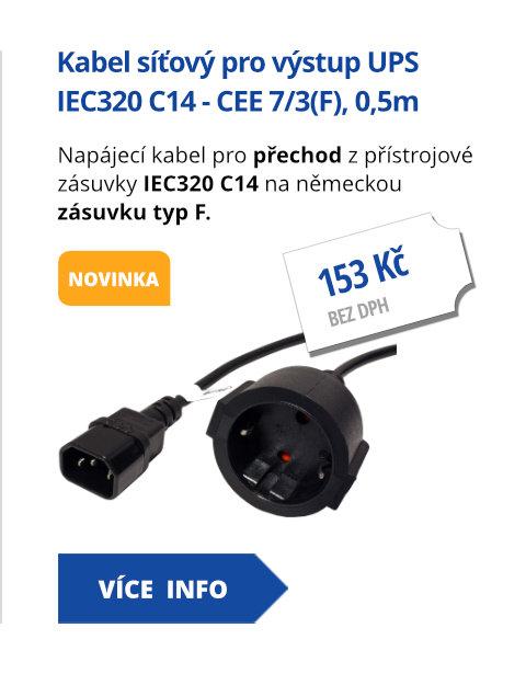 Kabel síťový pro výstup UPS, IEC320 C14 - CEE 7/3(F), 0,5m, černý
