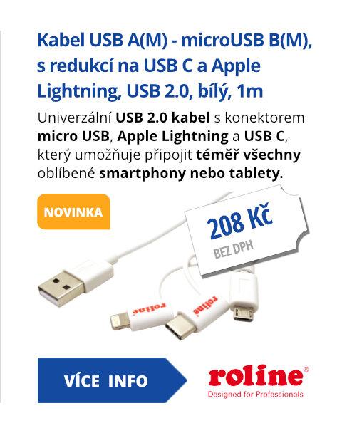 USB 2.0 kabel USB A(M) - microUSB B(M), s redukcí na USB C a Apple Lightning, bílý, 1m