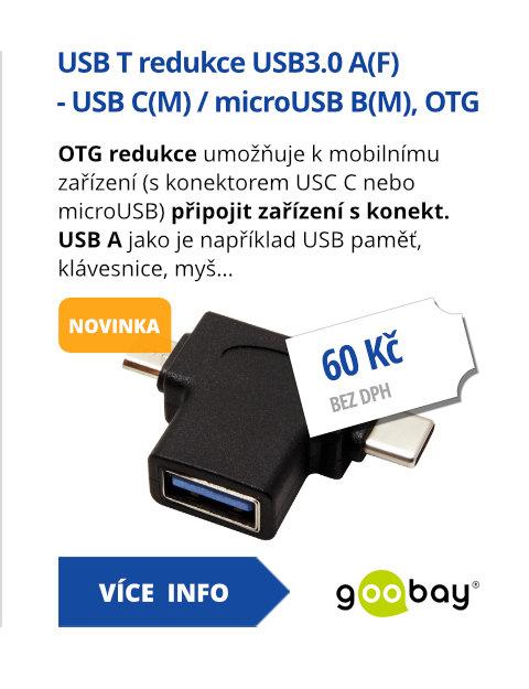 USB T redukce USB3.0 A(F) - USB C(M) / microUSB B(M), OTG, černá