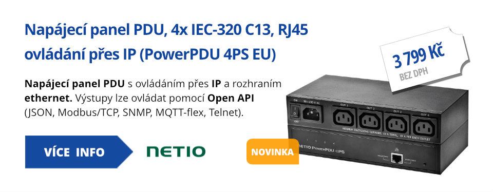 Napájecí panel PDU, 4x IEC-320 C13, RJ45 ovládání přes IP (PowerPDU 4PS EU)