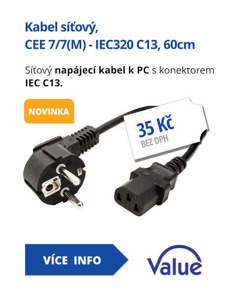Kabel síťový, CEE 7/7(M) - IEC320 C13, 60cm, černý