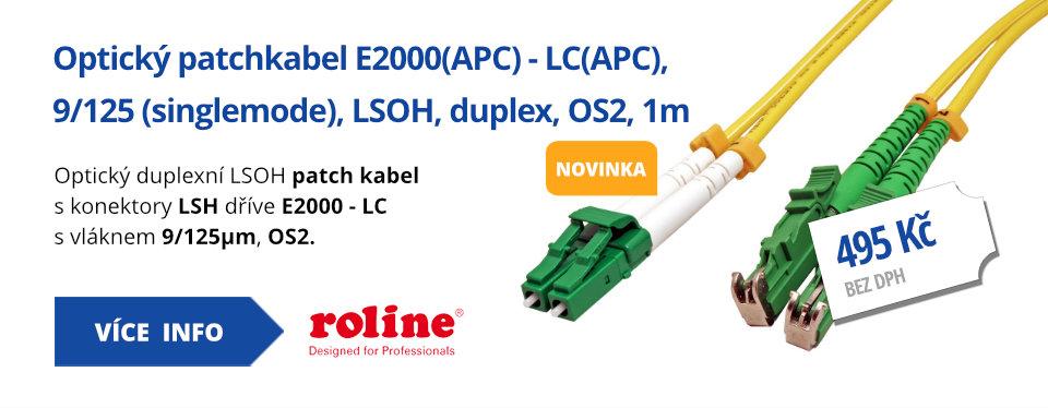 Optický patchkabel E2000(APC) - LC(APC), 9/125 (singlemode), LSOH, duplex, OS2, 1m