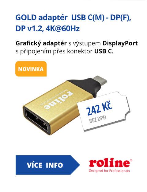 GOLD adaptér  USB C(M) - DP(F), DP v1.2, 4K@60Hz