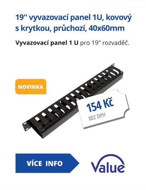 19'' vyvazovací panel 1U, kovový s krytkou, průchozí, 40x60mm, černý