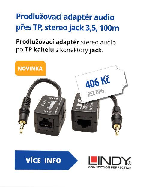 Prodlužovací adaptér audio přes TP, stereo jack 3,5, 100m