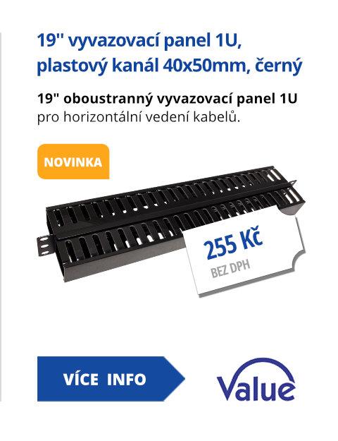 19'' vyvazovací panel 1U, oboustranný, plastový kanál 40x50mm,černý