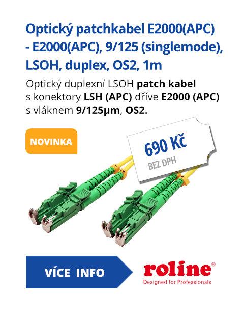 Optický patchkabel E2000(APC) - E2000(APC), 9/125 (singlemode), LSOH, duplex, OS2, 1m