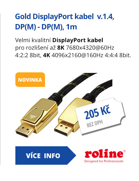 Gold DisplayPort kabel  v.1.4, DP(M) - DP(M), 1m
