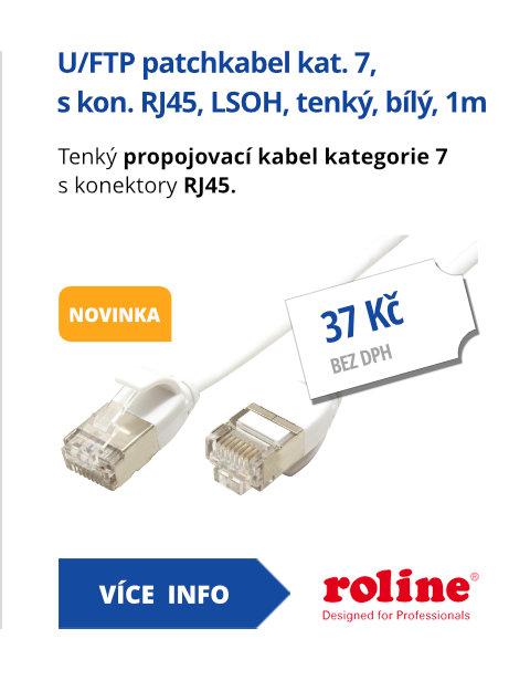 U/FTP patchkabel kat. 7, s konektory RJ45, LSOH, tenký, bílý, 1m