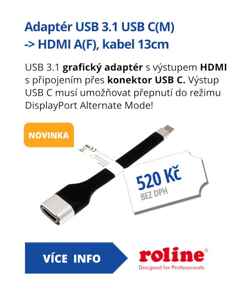 Adaptér USB 3.1 USB C(M) -> HDMI A(F), kabel 13cm