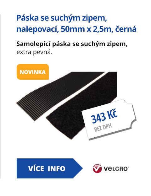 Páska se suchým zipem, extra pevná, nalepovací, 50mm x 2,5m, černá