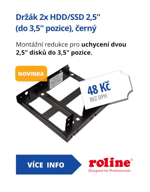 Držák 2x HDD/SSD 2,5'' (do 3,5'' pozice), černý