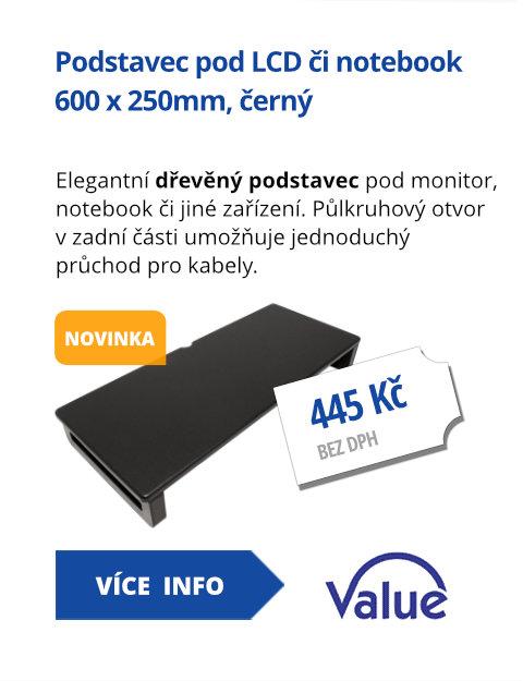 Podstavec pod LCD nebo notebook, 600 x 250mm, černý