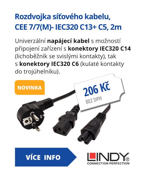 Rozdvojka síťového kabelu, CEE 7/7(M)- IEC320 C13+ C5, 2m, černá