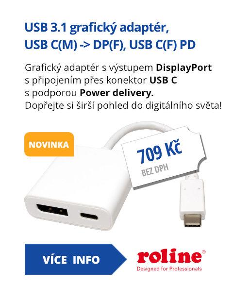 Adaptér USB 3.1 USB C(M) -> DP(F), USB C(F) PD
