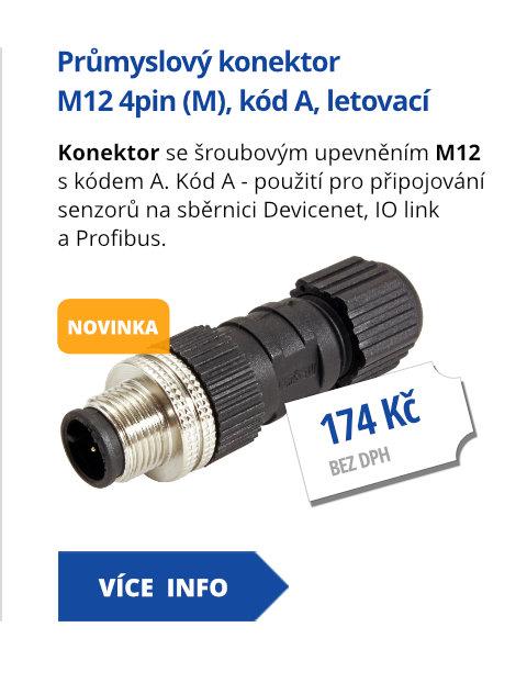 Průmyslový konektor M12 4pin (M), kód A, letovací