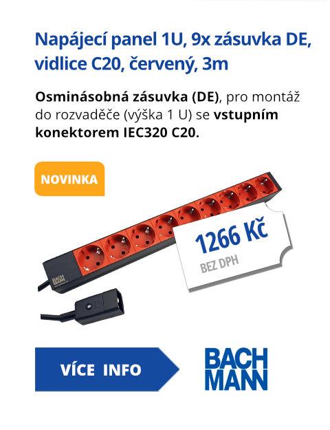 Napájecí panel 1U, 9x zásuvka DE, vidlice C20, červený, 3m