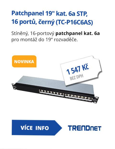Patchpanel 19 kat. 6a STP, 16 portů, černý (TC-P16C6AS)