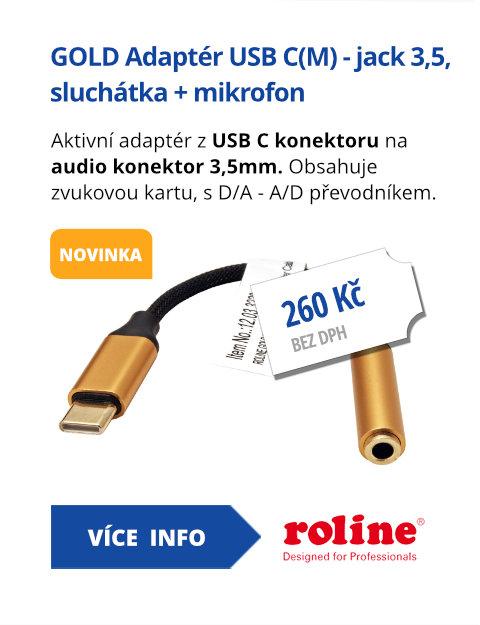 GOLD Adaptér USB C(M) - jack 3,5, sluchátka + mikrofon