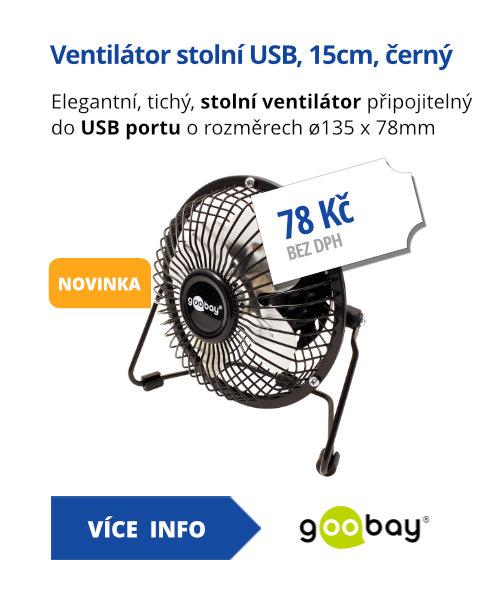 Ventilátor stolní USB, 15cm, černý