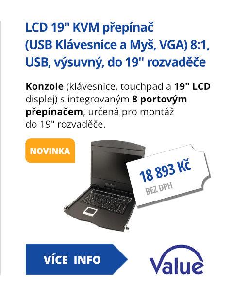 LCD 19'' KVM přepínač (USB Klávesnice a Myš, VGA) 8:1, USB, výsuvný, do 19'' rozvaděče