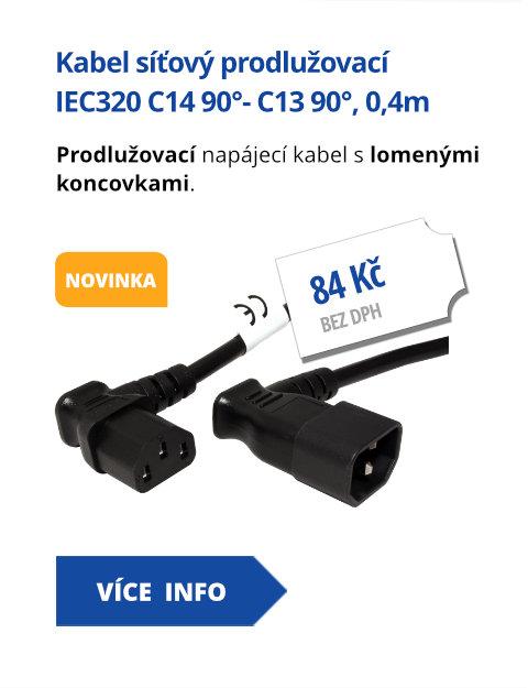 Kabel síťový prodlužovací, IEC320 C14 90°- C13 90°, 0,4m, černý