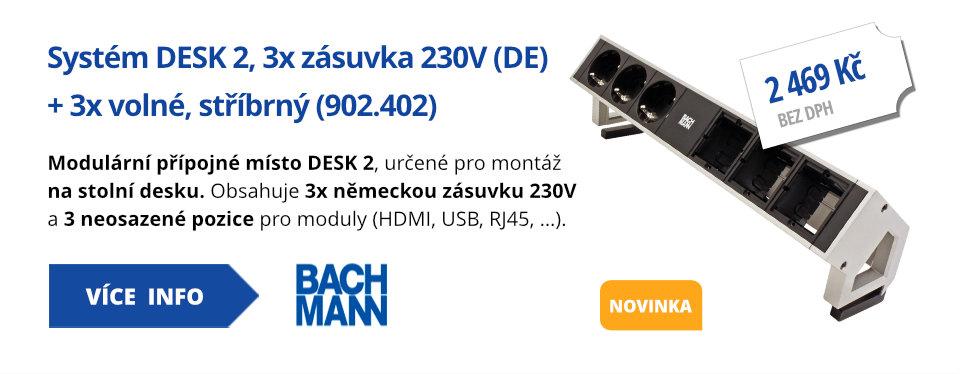 Systém DESK 2, 3x zásuvka 230V (DE) + 3x volné, stříbrný (902.402)