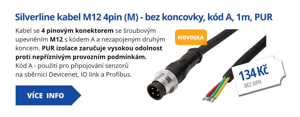 Silverline kabel M12 4pin (M) - bez koncovky, kód A, 1m, PUR