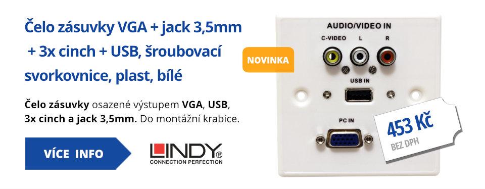 Čelo zásuvky VGA + jack3,5mm + 3x cinch + USB, šroubovací svorkovnice, plast, bílé