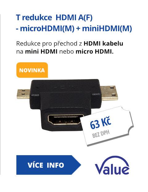 T redukce  HDMI A(F) - microHDMI(M) + miniHDMI(M)