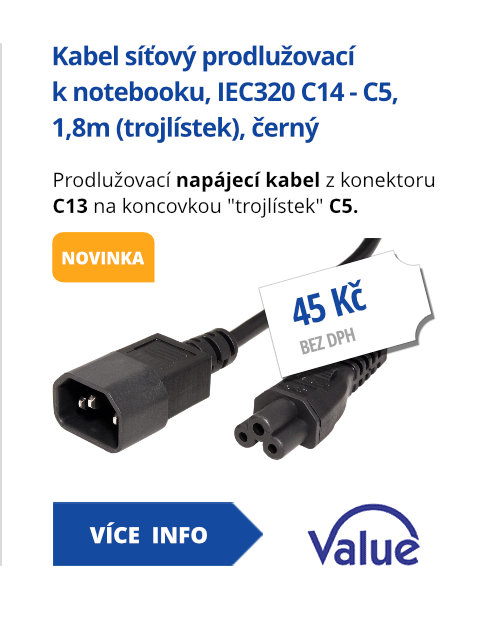 Kabel síťový prodlužovací k notebooku, IEC320 C14 - C5, 1,8m (trojlístek), černý