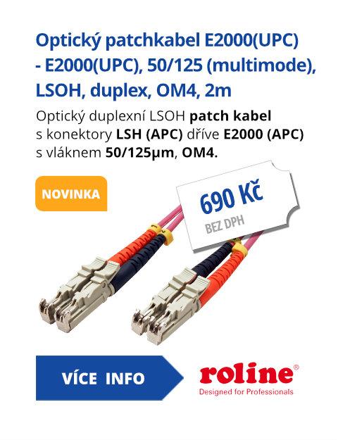 Optický patchkabel E2000(UPC) - E2000(UPC), 50/125 (multimode), LSOH, duplex, OM4, 2m