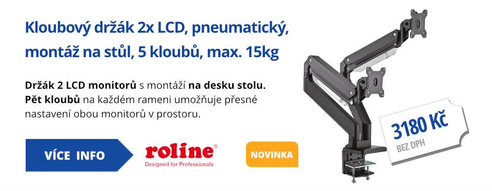 Kloubový držák 2x LCD, pneumatický, montáž na stůl, 5 kloubů, max. 15kg