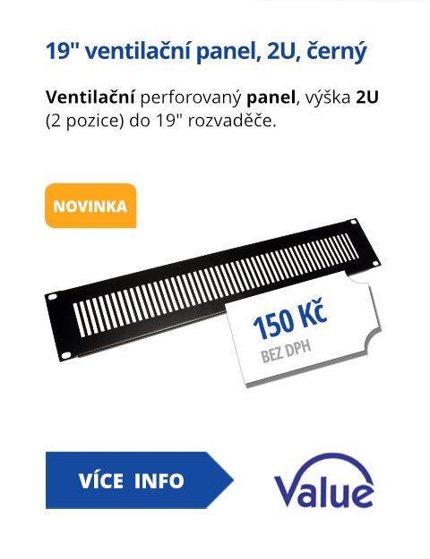 19 ventilační panel, 2U, černý