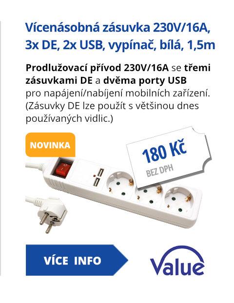 Vícenásobná zásuvka 230V/16A, 3x zásuvka DE, CEE 7/7(M) - 3x 7/4(F), 2x USB, vypínač, bílá, 1,5m