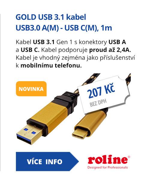 GOLD USB 3.1 kabel USB3.0 A(M) - USB C(M), 1m