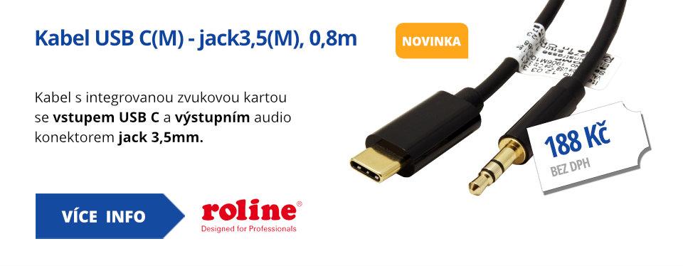 Kabel USB C(M) - jack3,5(M), 0,8m
