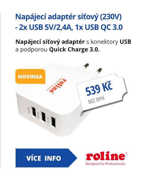Napájecí adaptér síťový (230V) - 2x USB 5V/2,4A, 1x USB QC 3.0, 36W