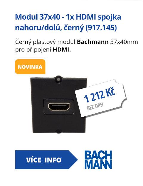Modul 37x40 - 1x HDMI spojka lomená nahoru/dolů, černý (917.145)