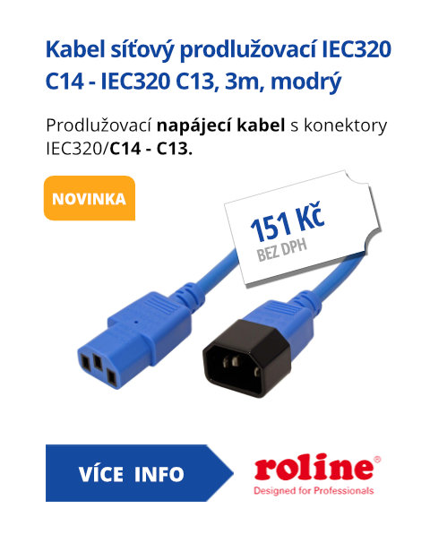 Kabel síťový prodlužovací IEC320 C14 - IEC320 C13, 3m, modrý