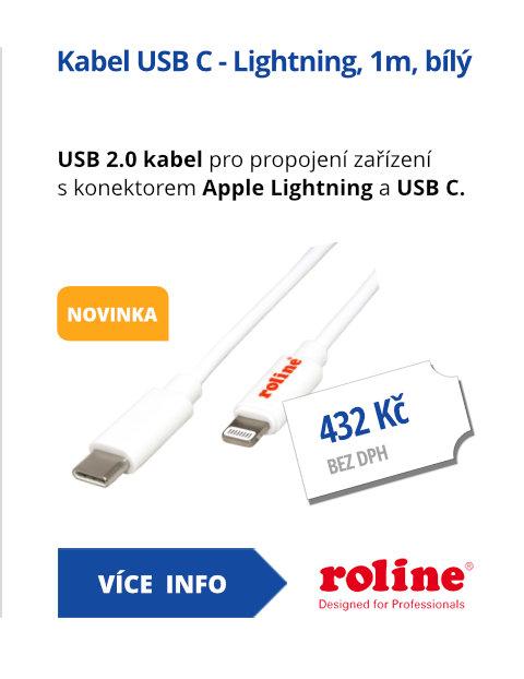 Kabel USB C - Lightning, 1m, bílý