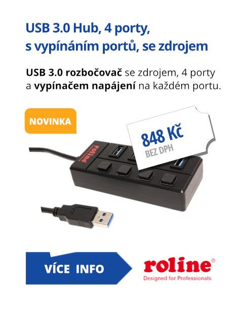USB 3.0 Hub, 4 porty, s vypínáním portů, se zdrojem