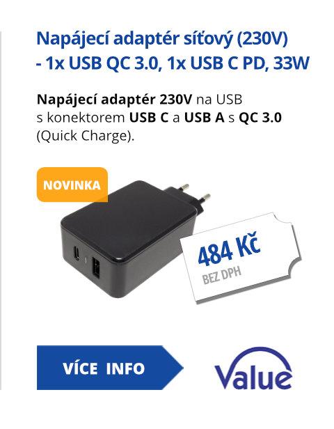 Napájecí adaptér síťový (230V) - 1x USB QC 3.0, 1x USB C PD, 33W