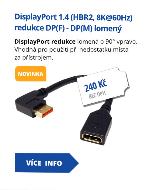 DisplayPort 1.4 (HBR2, 8K@60Hz) redukce DP(F) - DP(M) lomený vpravo,0,15m
