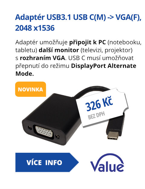 Adaptér USB 3.1 USB C(M) -> VGA(F), 2048 x1536