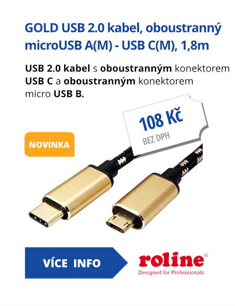 GOLD USB 2.0 kabel, oboustranný microUSB A(M) - USB C(M), 1,8m